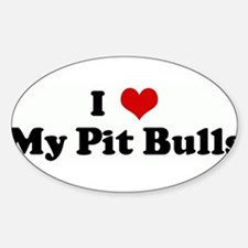 I Love My Pit Bulls Rectangle Decal