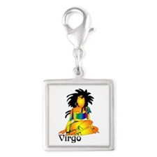 Whimsical Virgo Silver Square Charm