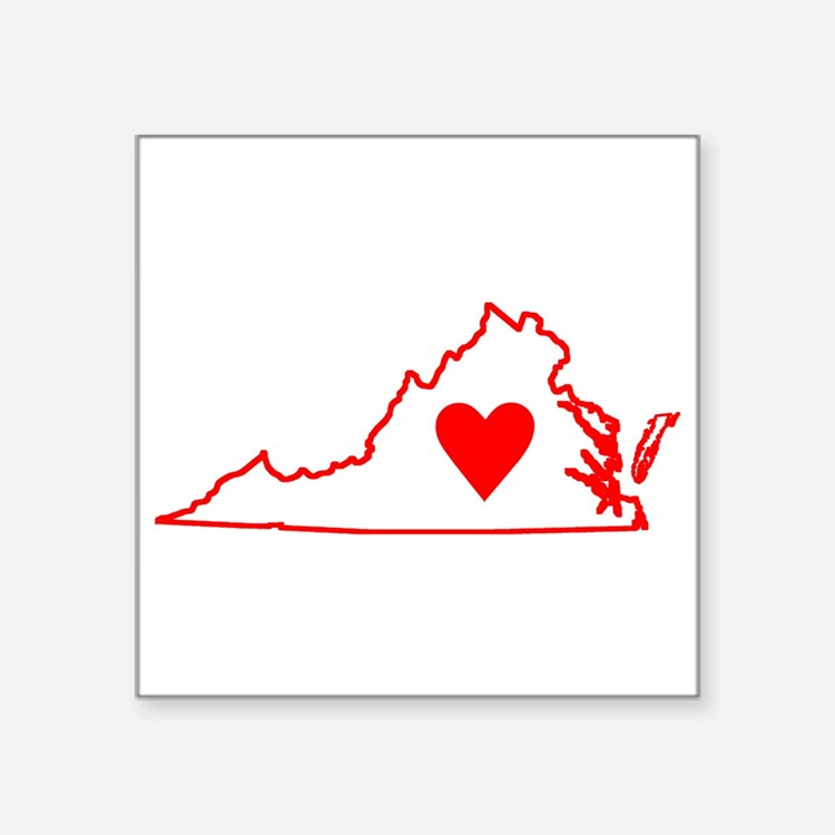 "Heart Virginia Square Sticker 3"" x 3"""