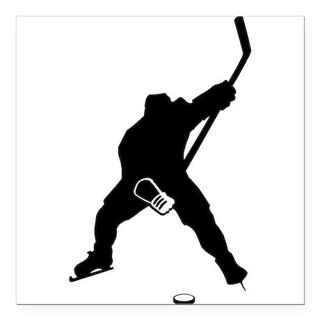 "Hockey Player Square Car Magnet 3"" x 3"""