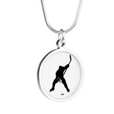Hockey Player Silver Round Necklace