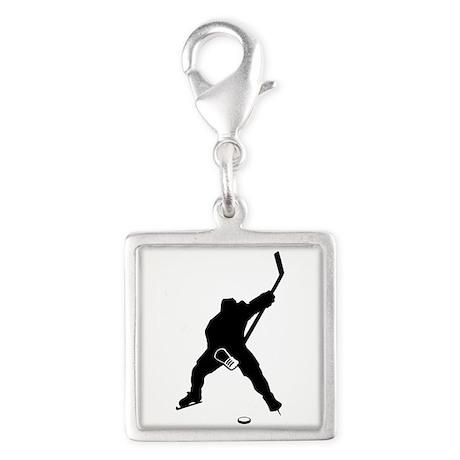 Hockey Player Silver Square Charm