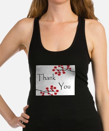 Red Cherry Blossoms Thank You.jpg Racerback Tank T