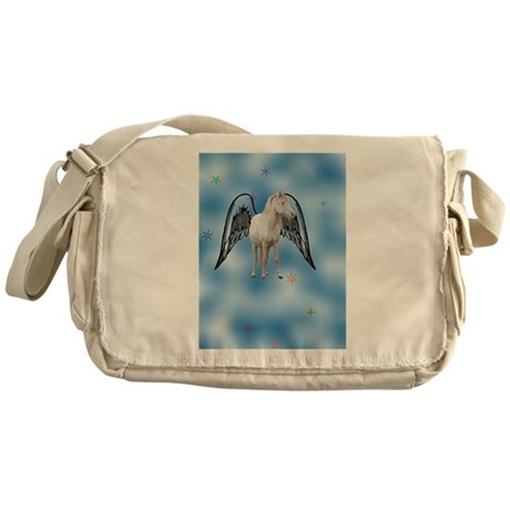 white magical flying Pegasus Messenger Bag