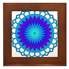 Blue Lotus Mandala Framed Tile