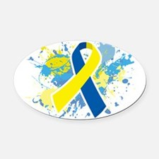 Down Syndrome Splatter Oval Car Magnet