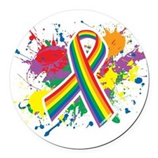 LGBTQ Paint Splatter Round Car Magnet