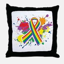 LGBTQ Paint Splatter Throw Pillow