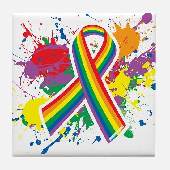 LGBTQ Paint Splatter Tile Coaster