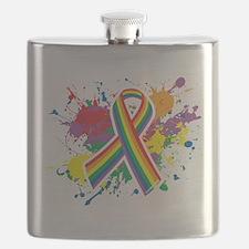 LGBTQ Paint Splatter Flask