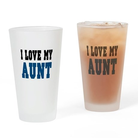 I Love My Aunt (blue) Drinking Glass