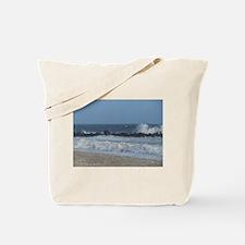 Crashing Wave on rocks along beach Tote Bag