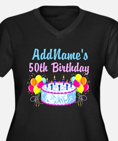 HAPPY 50TH PARTY Women's Plus Size V-Neck Dark T-S