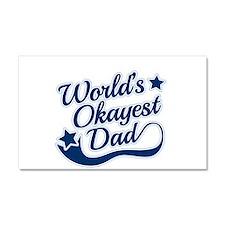 Worlds Okayest Dad Blue Car Magnet 20 x 12