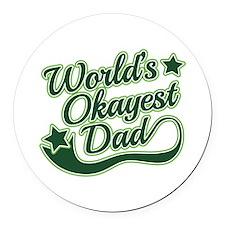 World's Okayest Dad Green Round Car Magnet