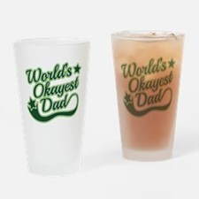 World's Okayest Dad Green Drinking Glass