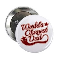 """World's Okayest Dad Red 2.25"""" Button (100 pack)"""