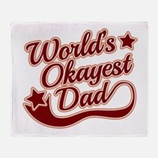 World's Okayest Dad Red Throw Blanket