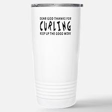 Dear God Thanks For Curling Travel Mug
