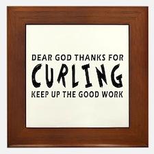Dear God Thanks For Curling Framed Tile