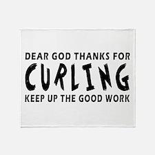 Dear God Thanks For Curling Throw Blanket