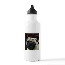 Cute I Love Pugs Water Bottle
