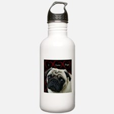 Cute I Love Pugs Water Bottle