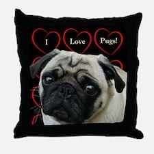 Cute I Love Pugs Throw Pillow