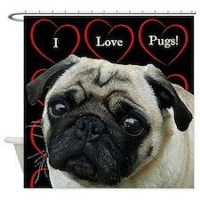 Cute I Love Pugs Shower Curtain