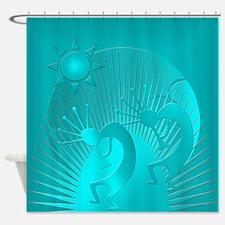 Kokopelli in Turquoise Shower Curtain