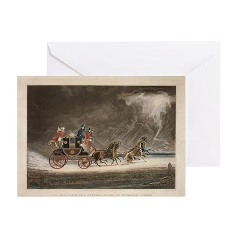 Mailcoach in a Storm Greeting Cards (Pk of 10)