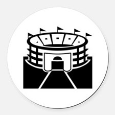 Black Stadium Round Car Magnet
