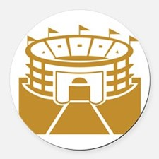 Brown Stadium Round Car Magnet