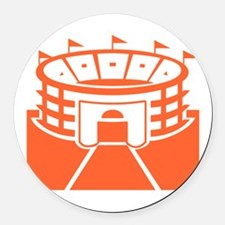 Orange Stadium Round Car Magnet