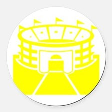 Yellow Stadium Round Car Magnet