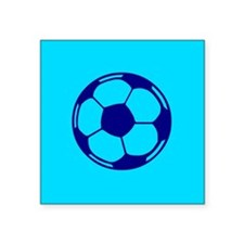 "Blue Soccer Ball Square Sticker 3"" x 3"""
