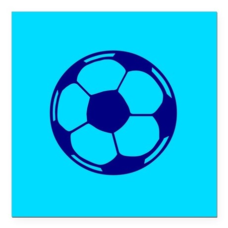 "Blue Soccer Ball Square Car Magnet 3"" x 3"""