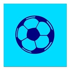 "Blue Soccer Ball Square Car Magnet 3"" x 3"""
