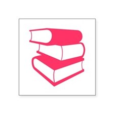 "Stack Of Pink Books Square Sticker 3"" x 3"""