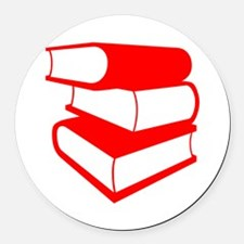 Stack Of Red Books Round Car Magnet