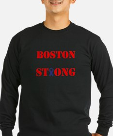 Boston Strong Red and White Ribbon Long Sleeve T-S