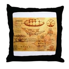 Steampunk Airship Throw Pillow