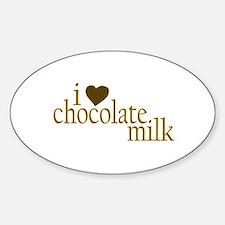 I Love Chocolate Milk Oval Decal