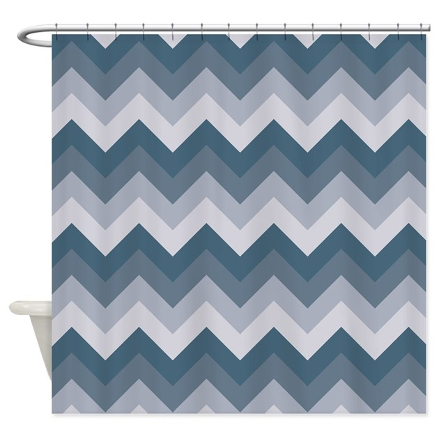 Blue Grey ZigZag Shower Curtain By ZandiepantsHomeDecor