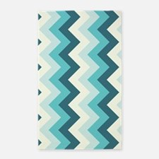 Teal and off white zigzag 3'x5' Area Rug