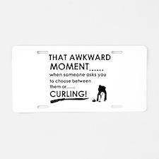 Curling sports designs Aluminum License Plate