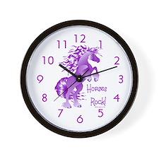 Horses Rock- Purple Wall Clock