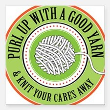 "Purl Up Square Car Magnet 3"" x 3"""