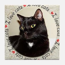 I Love Cats Tile Coaster