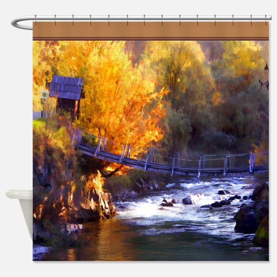 Swinging Bridge Over Autumn Creek Shower Curtain